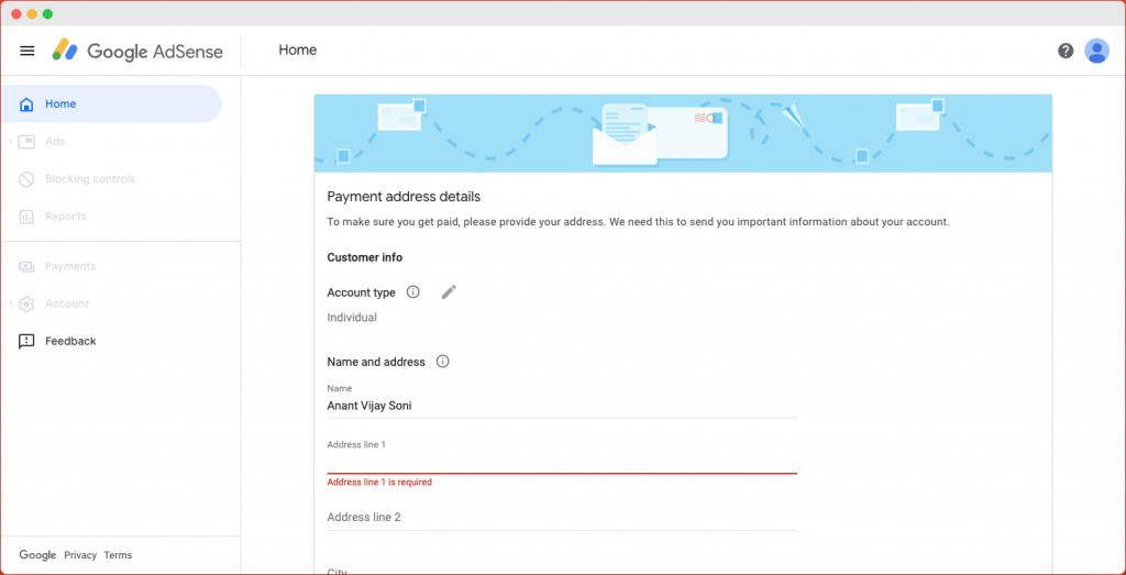 Google Adsense Payment Address Details