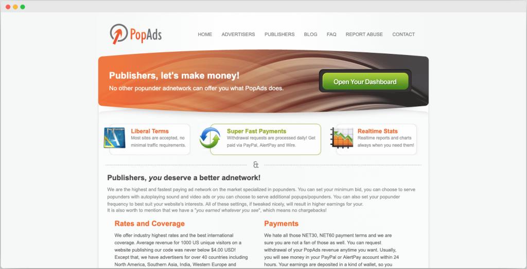 PopAds ad network - Best Google adsense alternatives