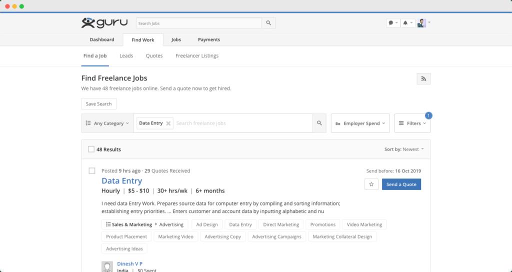 Guru.com - Data Entry and Copy Paste Jobs