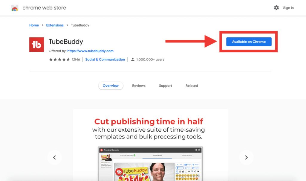 2. Add to Chrome - TubeBuddy Chrome Extension