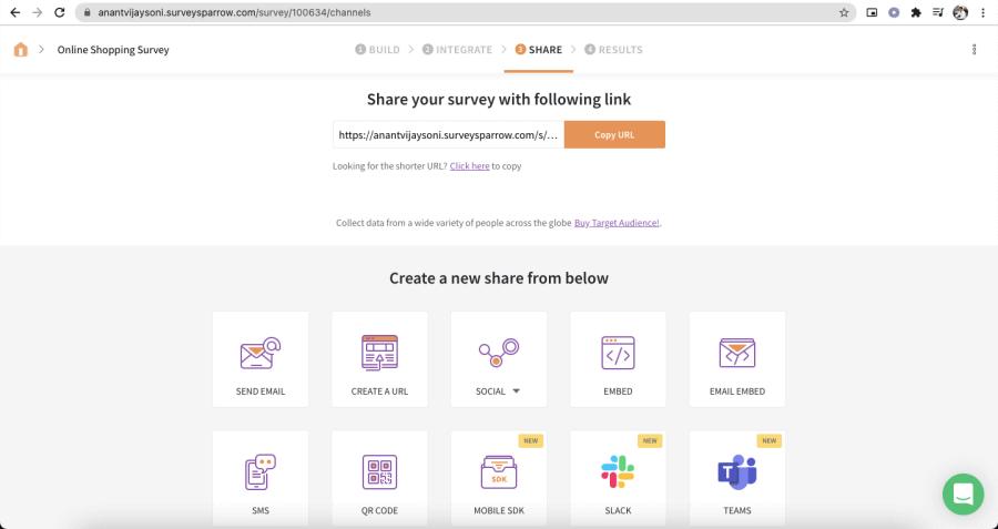 Sharing Options on SurveySparrow