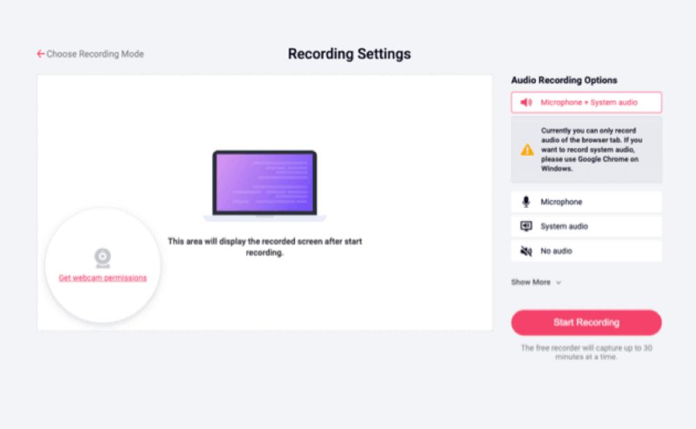 Step 2. Adjust settings - RecordCast