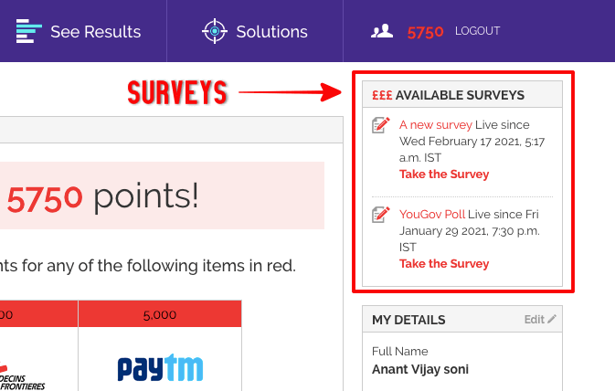 Surveys in YouGov India Dashboard