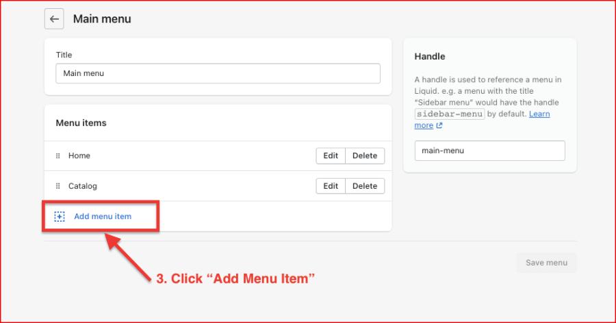 Add new menu items on Main menu - Shopify Dropshipping Store