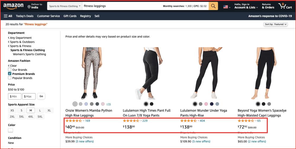 Dropshipping fitness leggings search Amazon