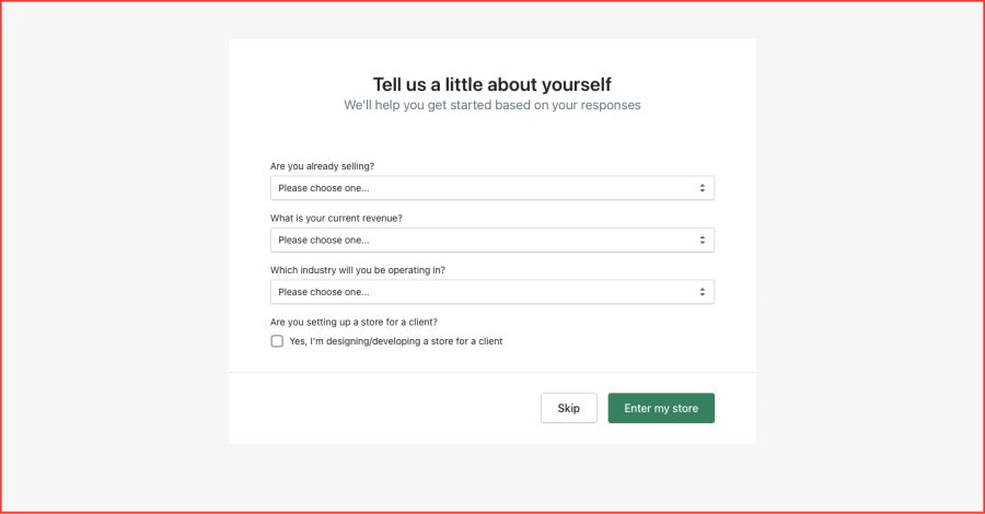 Shopify Registration with More Information