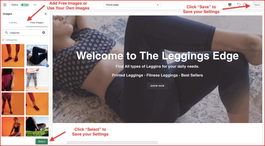 Use free images on Shopify Slider