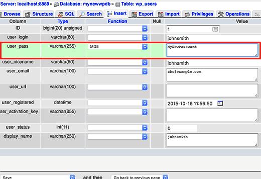 Step 4 userpass - for reset your wordpress admin password